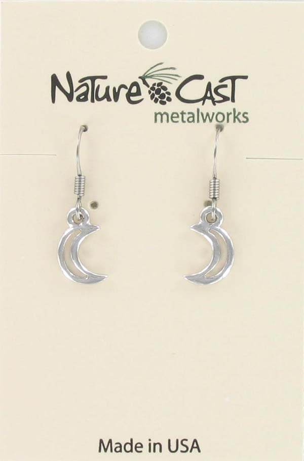 Earring dangle cutout crescent moon