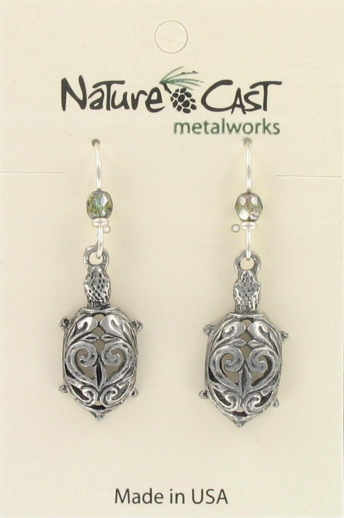 Earring dangle filigree turtle
