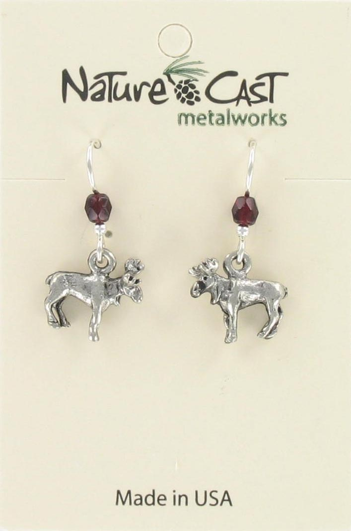 Earring dangle small moose