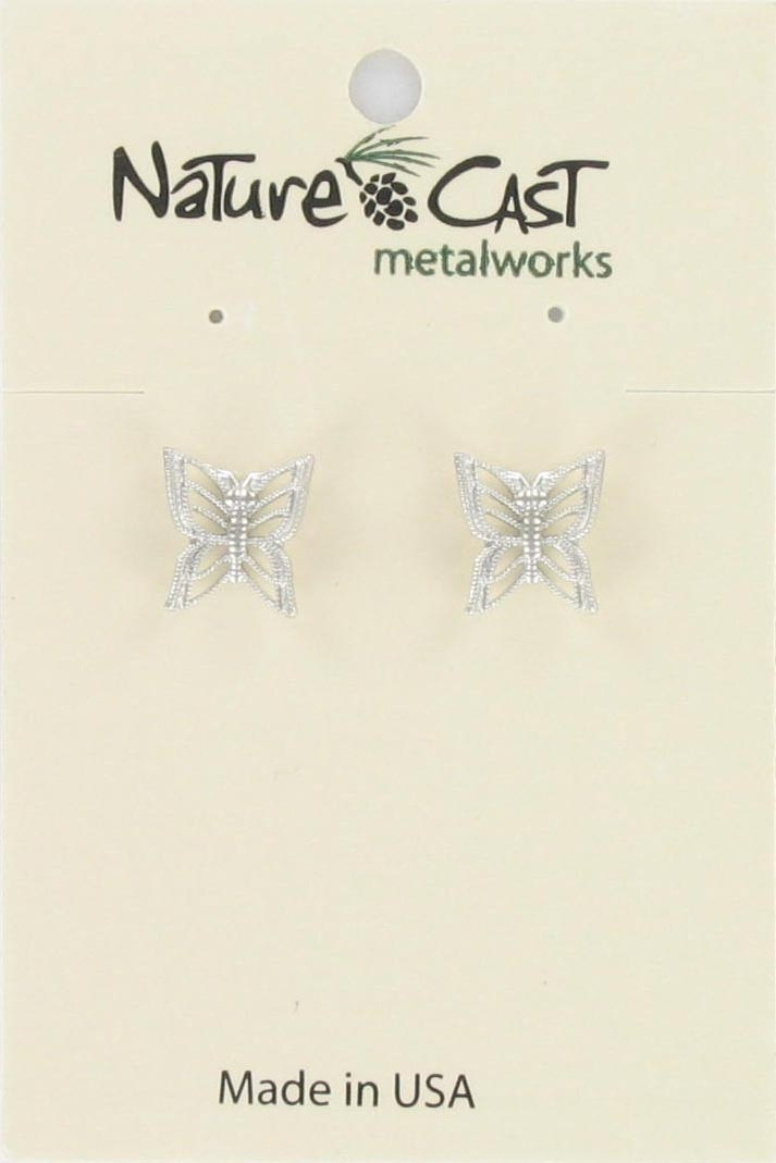 Earring post filigree butterfly wings up THUMBNAIL
