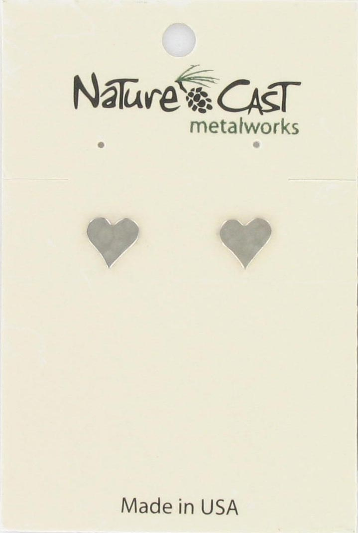 Earring post hammered flat heart_THUMBNAIL