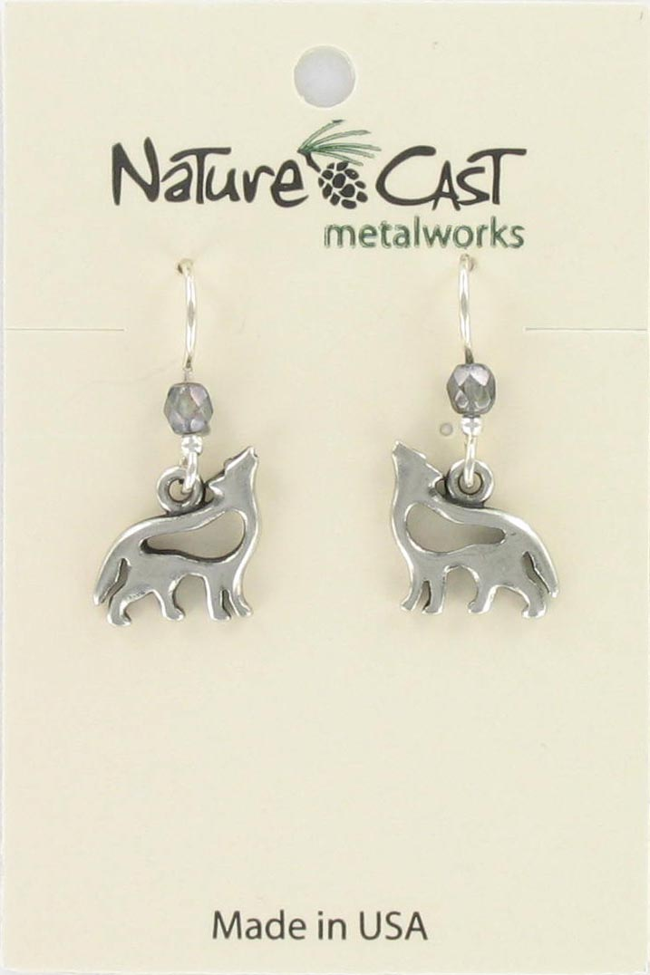 Earring dangle petro cutout wolf