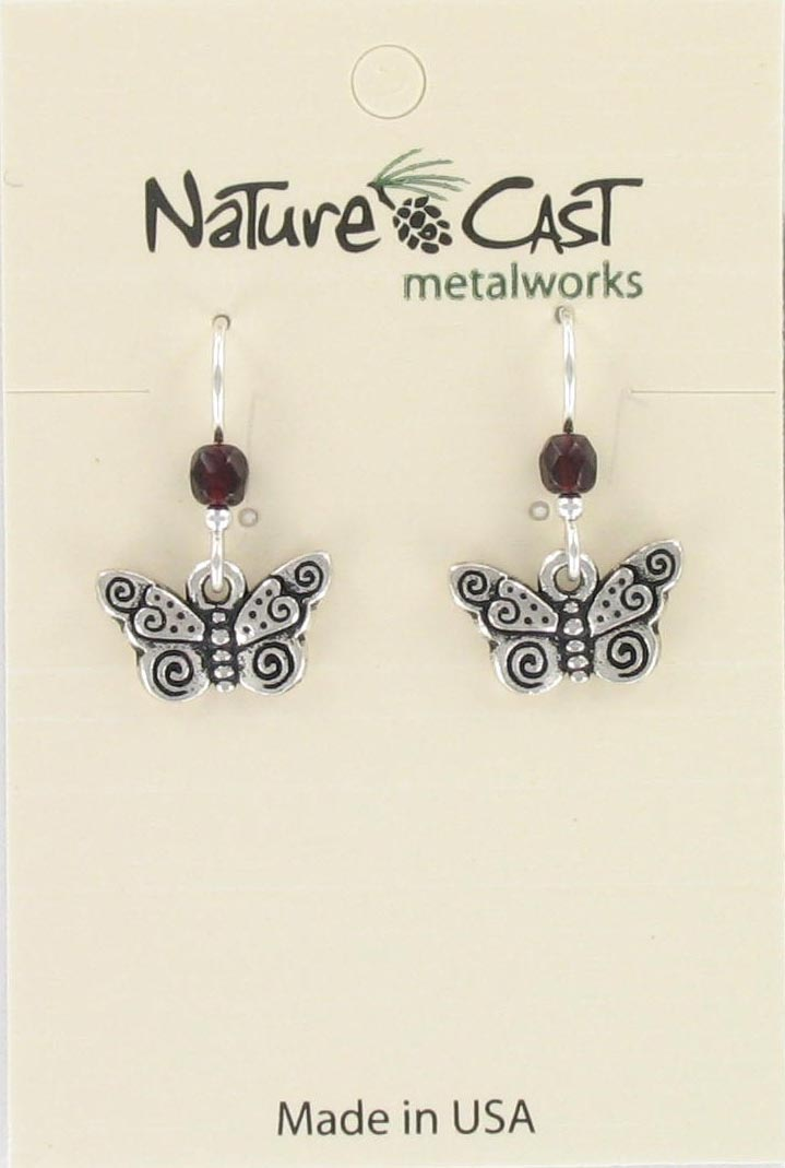 Earring dangle butterfly w/ spirals THUMBNAIL