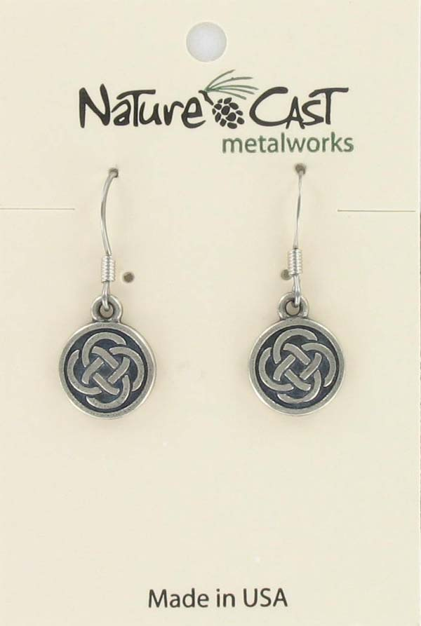 Earring dangle round celtic knot