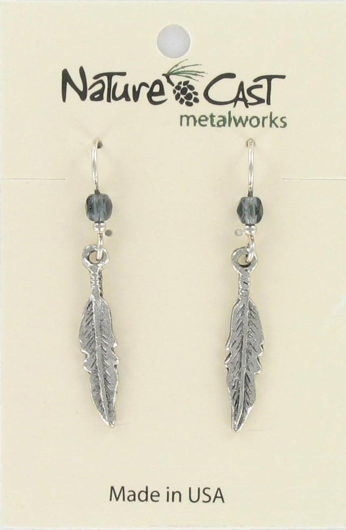 Earring dangle curved feather