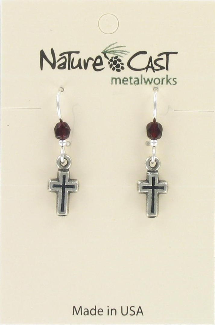 Earring dangle outlined cross THUMBNAIL