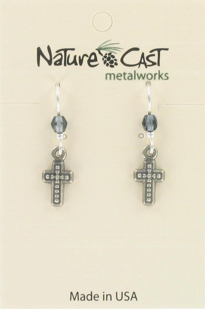 Earring dangle beaded cross THUMBNAIL