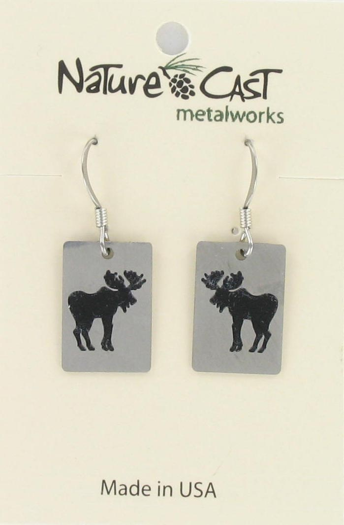 Earring dangle small moose on disc THUMBNAIL