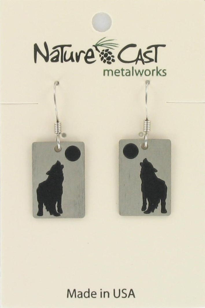 Earring dangle wolf w/ moon disc THUMBNAIL