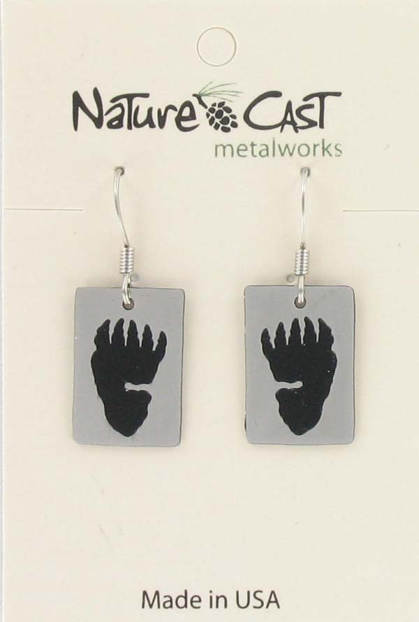 Earring dangle rectangle bearpaw print THUMBNAIL