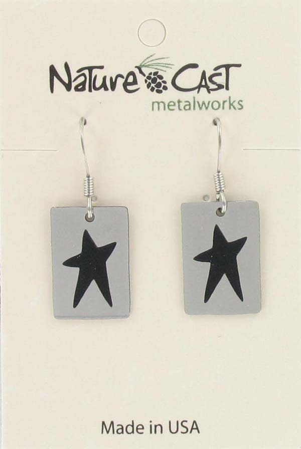 Earring dangle rectangle star