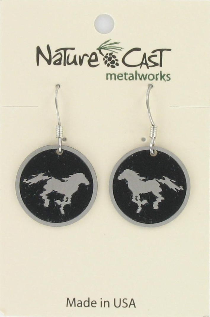 Earring  dangle horse disc