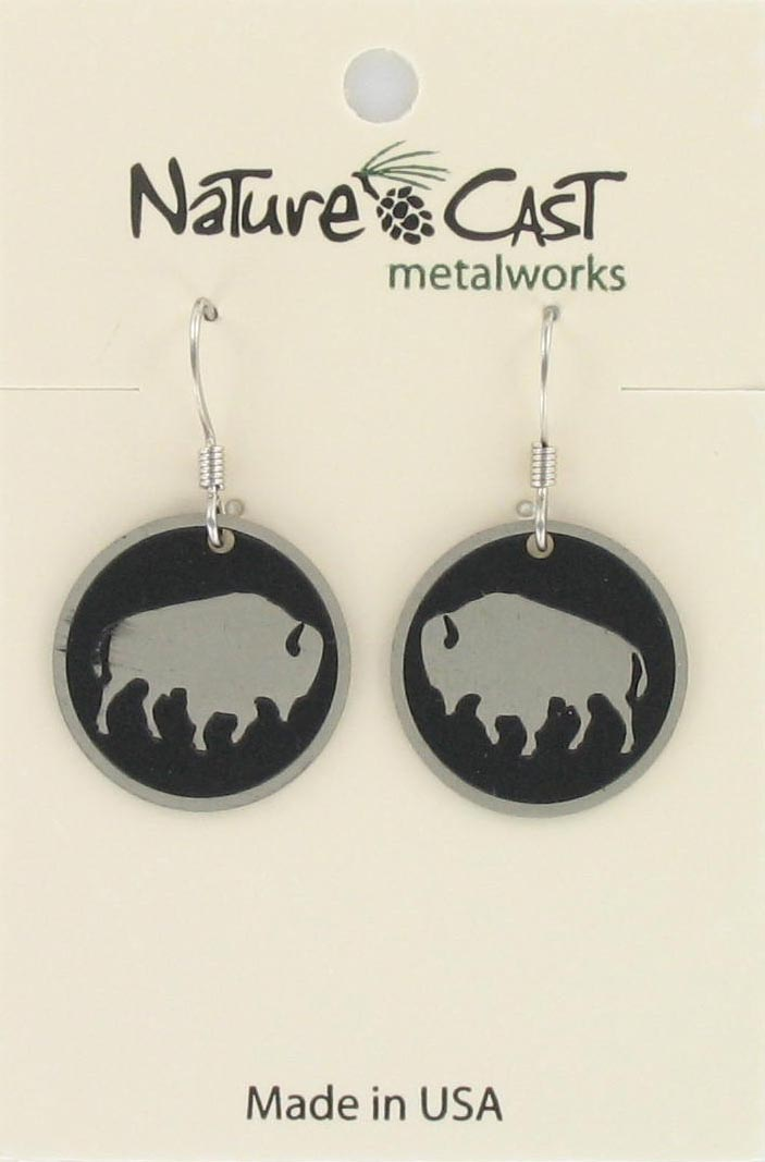 Earring dangle buffalo disc THUMBNAIL