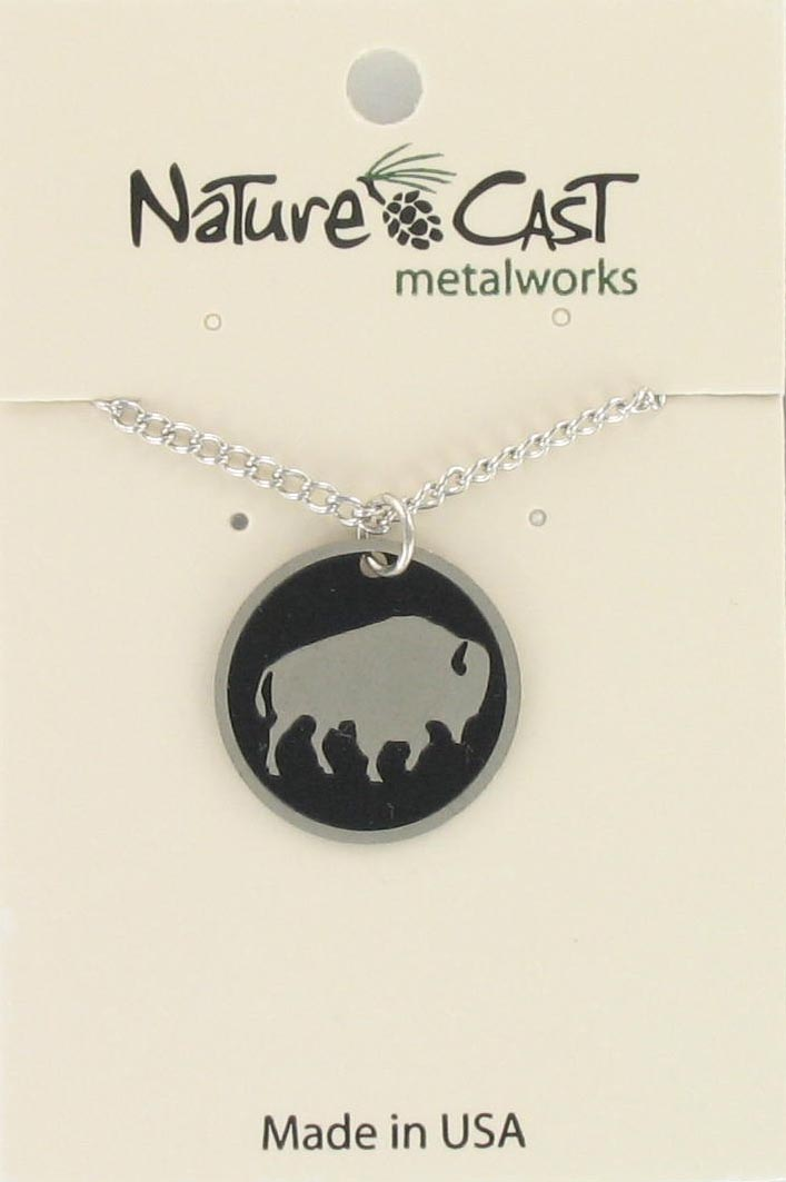 "Pendant 20mm round buffalo disc w/18"" chain_THUMBNAIL"