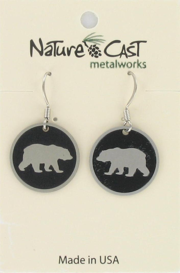 Earring dangle 20mm round bear