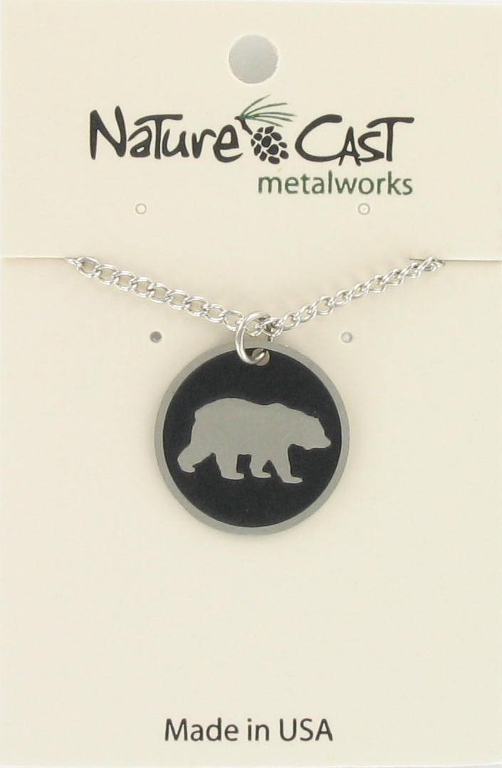 "Pendant 20mm round bear disc w/18"" chain"