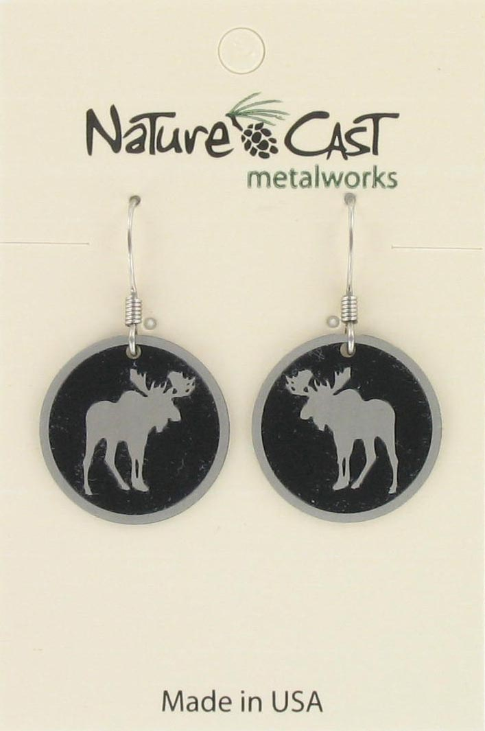 Earring dangle round moose THUMBNAIL