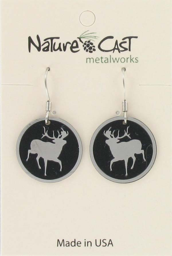 Earring dangle round elk THUMBNAIL