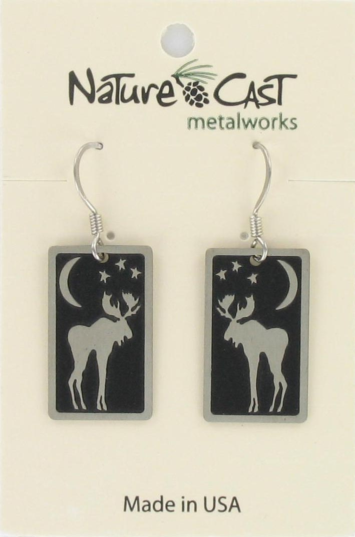 Earring dangle moon moose