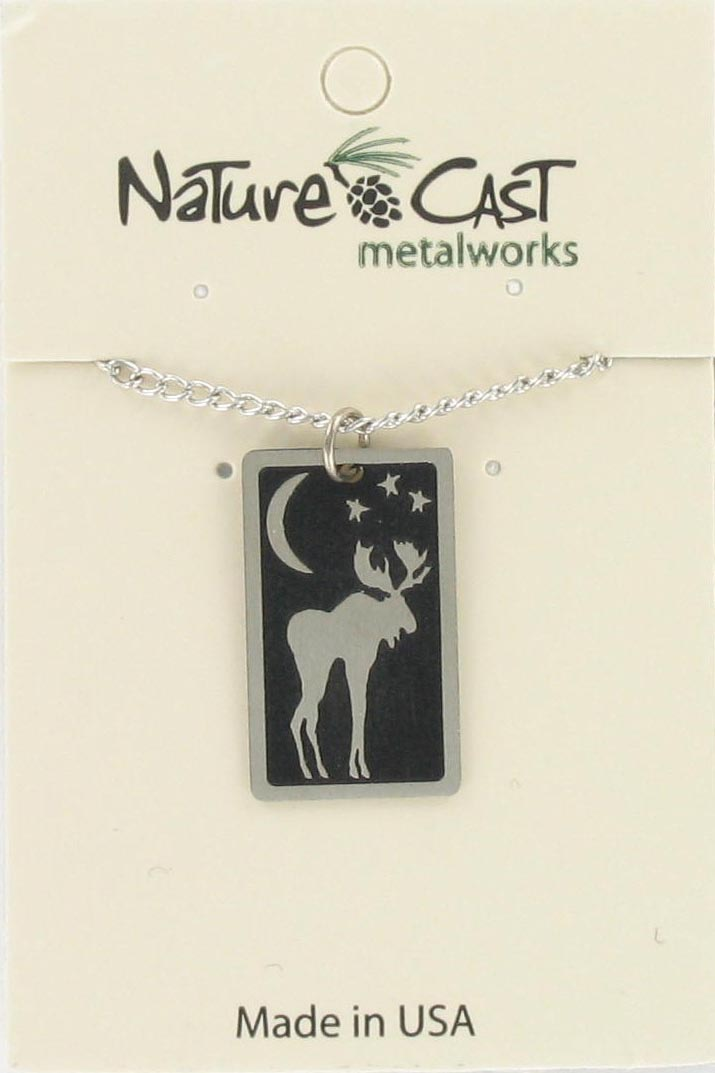 "Pendant moon moose pendant w/18"" chain MAIN"