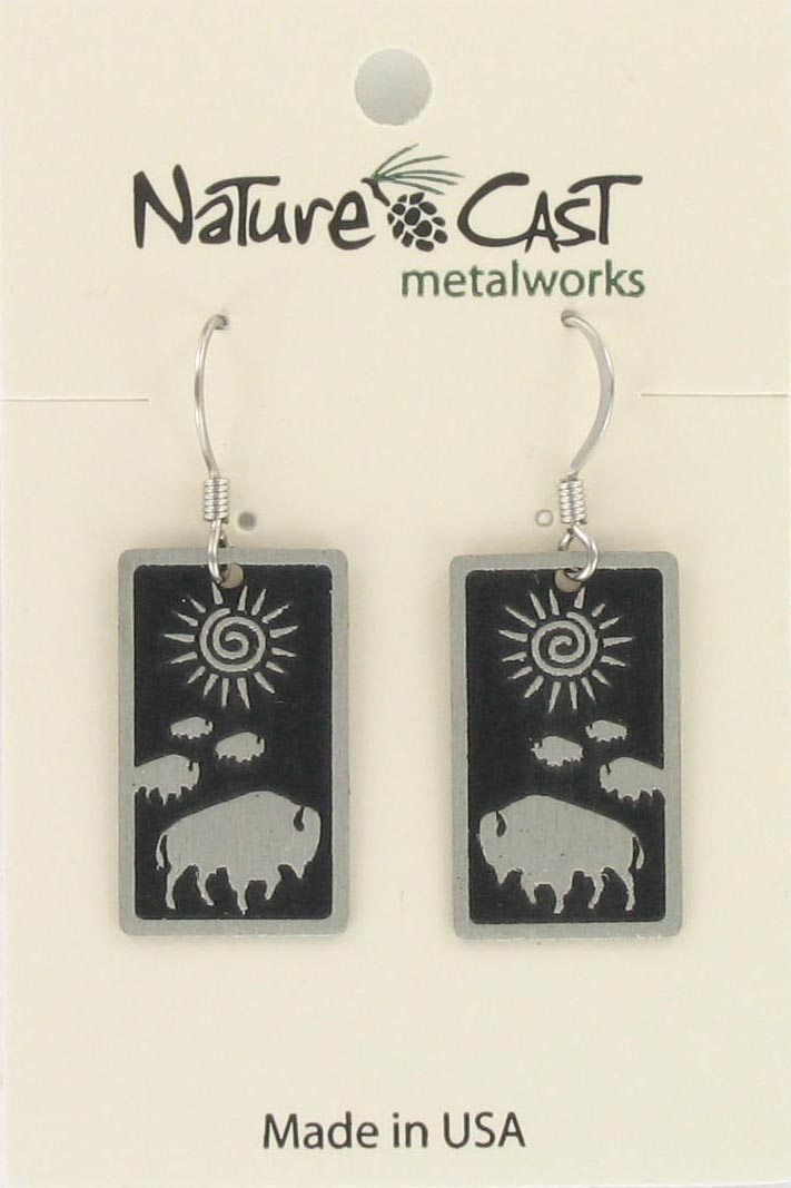 Earring dangle  rect buffalo crossing THUMBNAIL