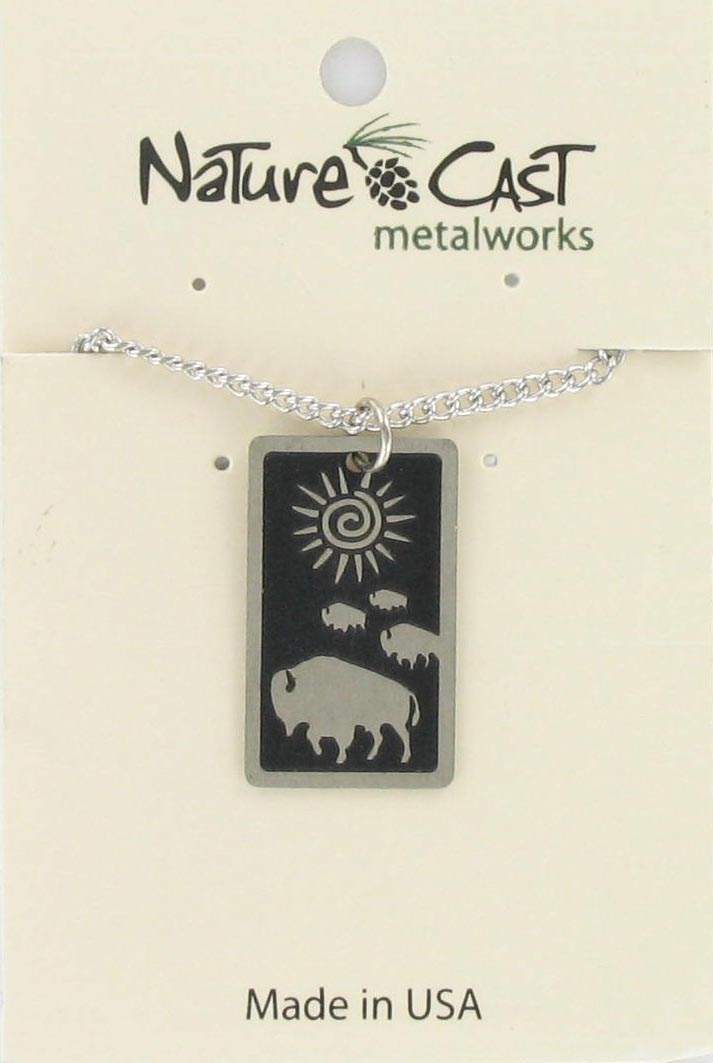 "Pendant rect buffalo crossing w/18"" chain"