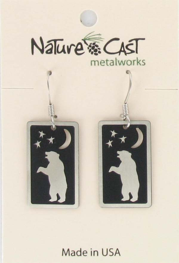Earring dangle rectangle dancing bear THUMBNAIL