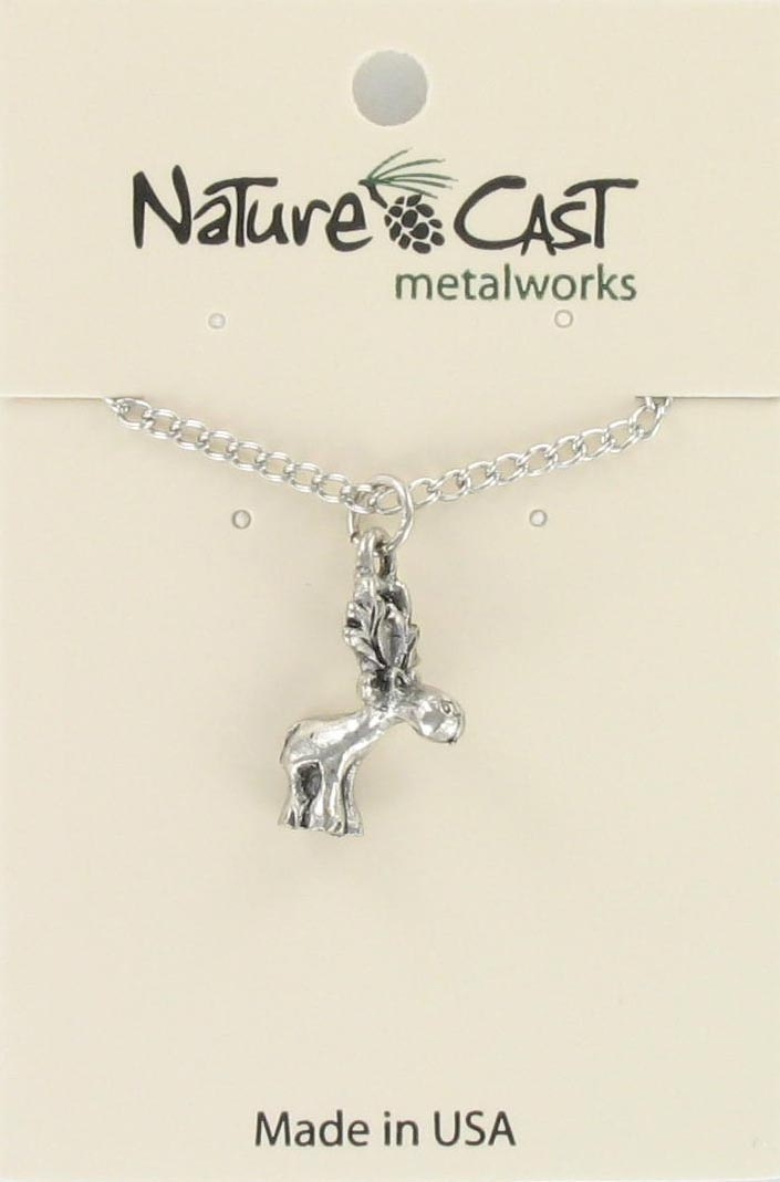 "Pendant  whimsical moose w/18"" chain"