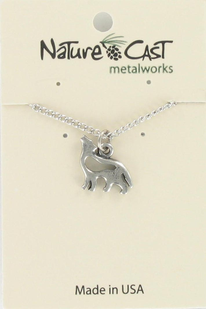 "Pendant nature cast wolf w/18"" chain"