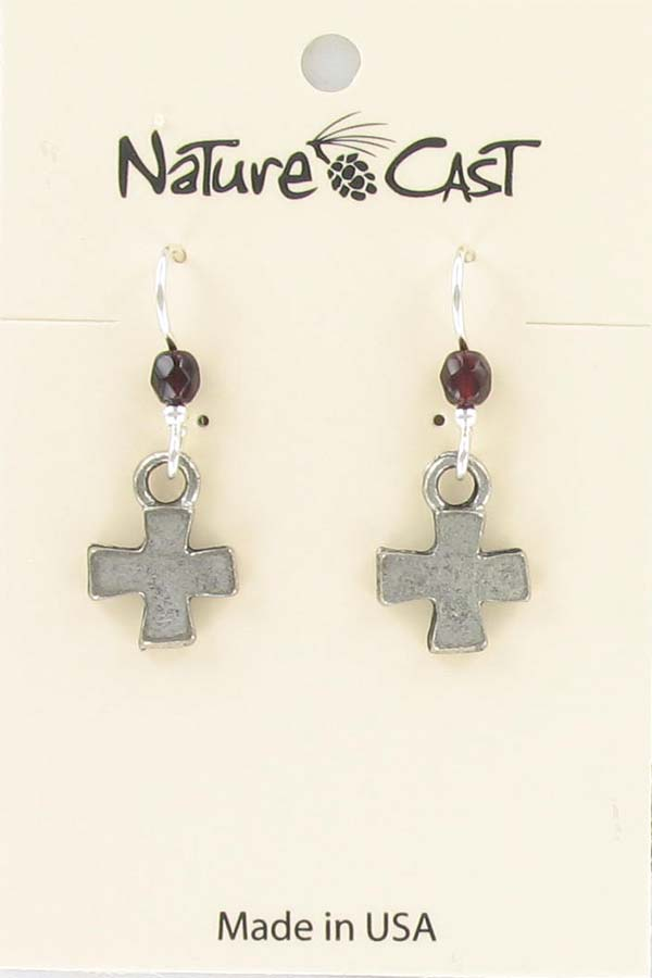 Earring dangle  tiny cross THUMBNAIL