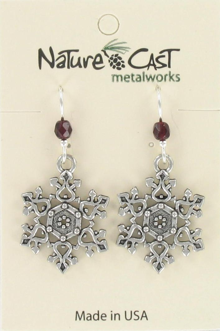 Earring dangle filigree snowflake