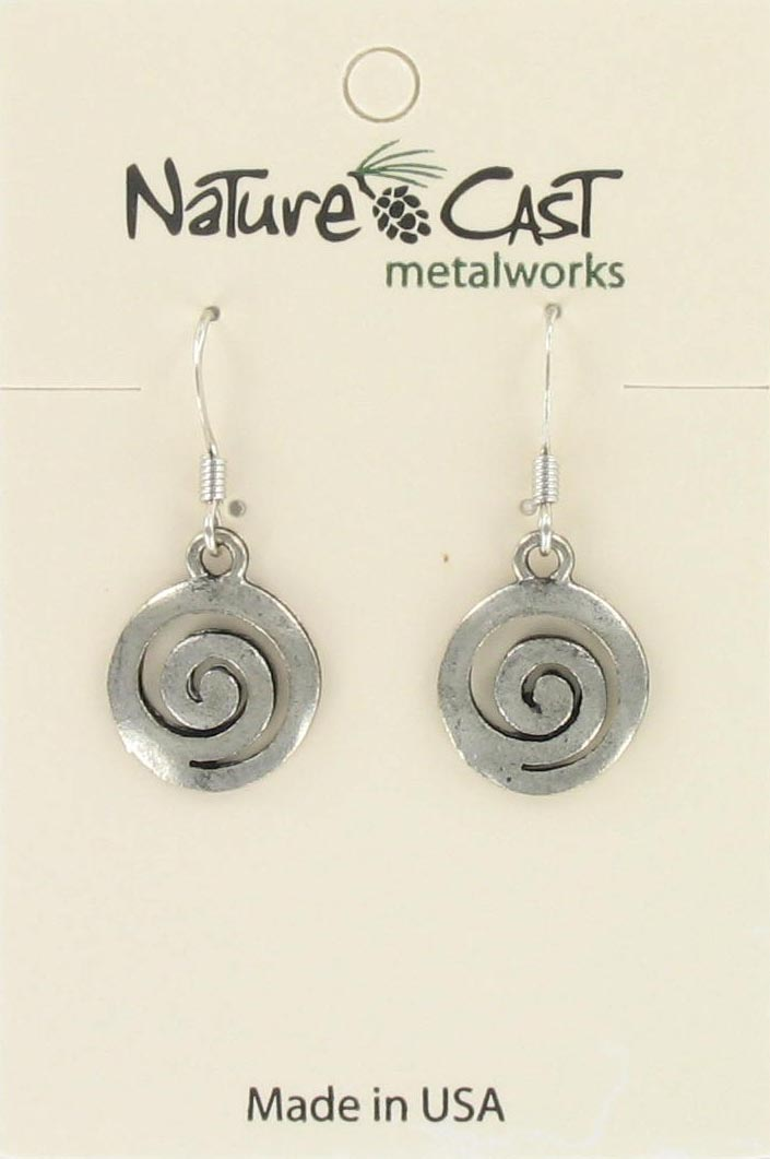 Earring dangle swirl disc