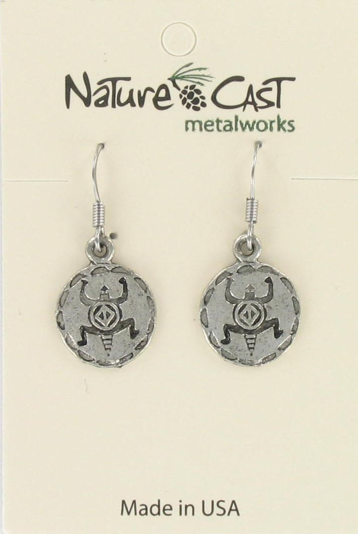 Earring dangle Native American disc (turtle)_THUMBNAIL