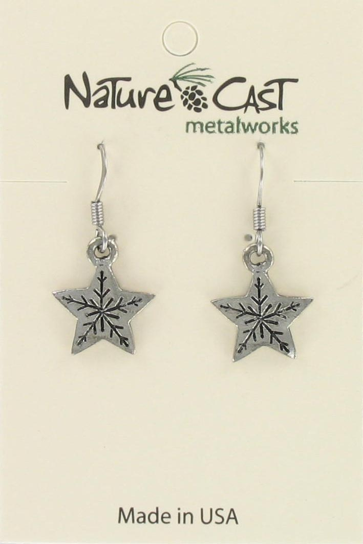 Earring dangle snowflake star