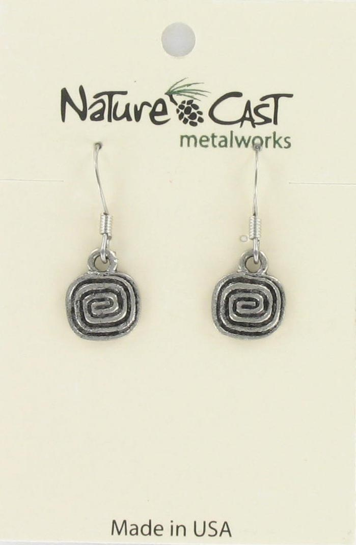 Earring dangle square spiral