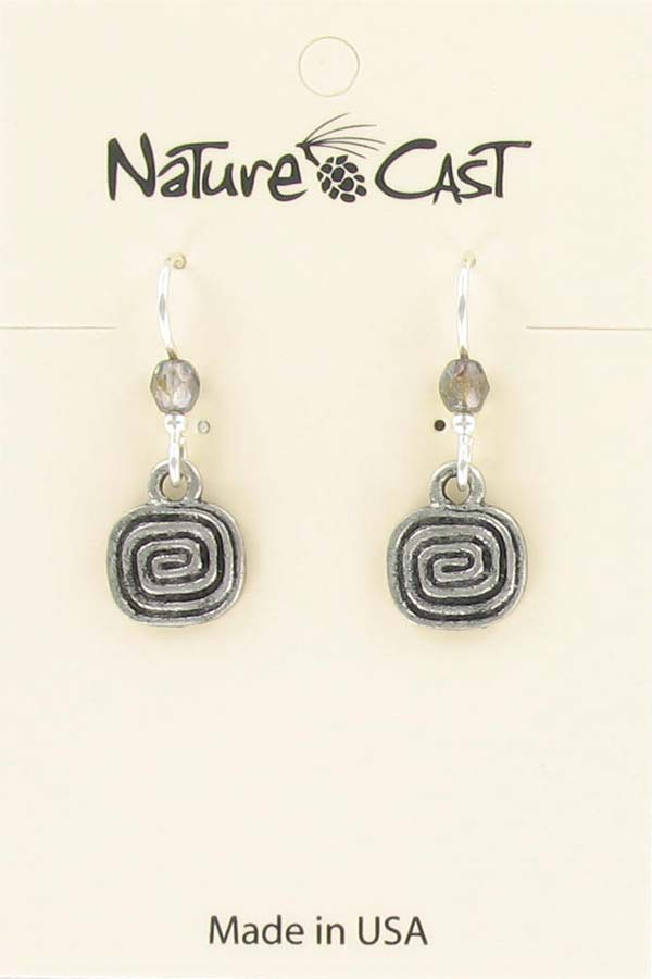 Earring dangle square spiral THUMBNAIL