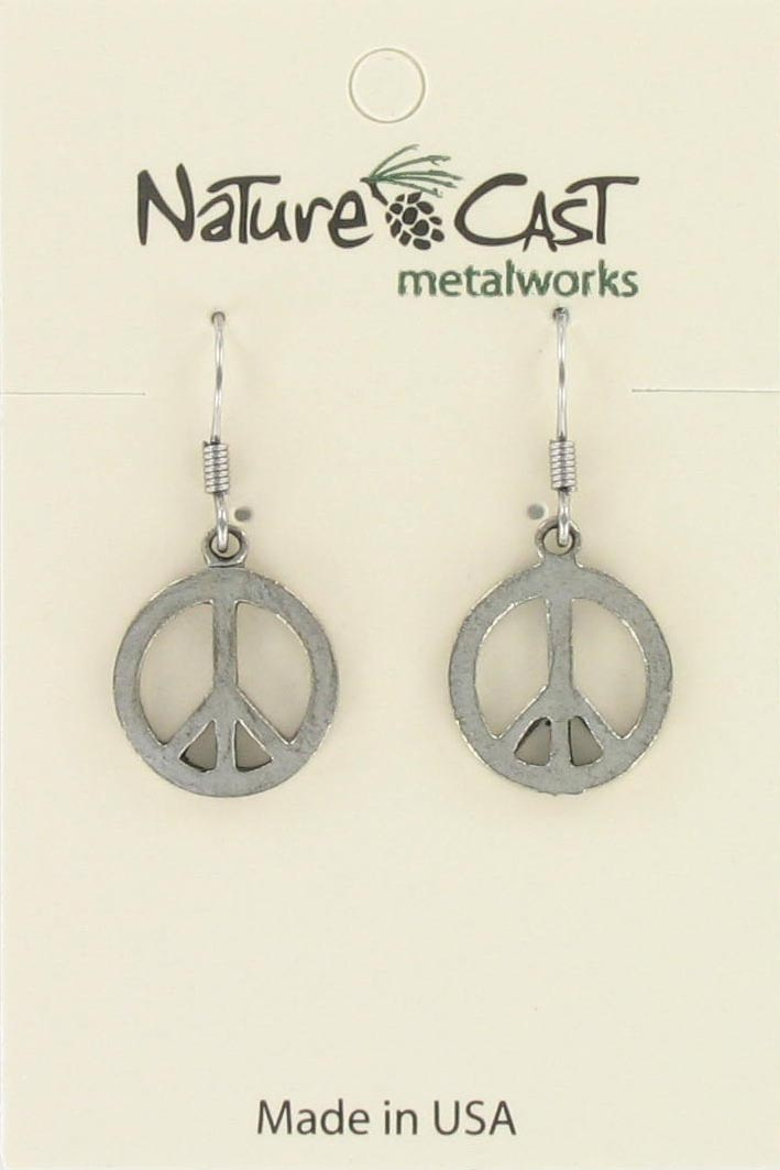 Earring dangle small peace sign