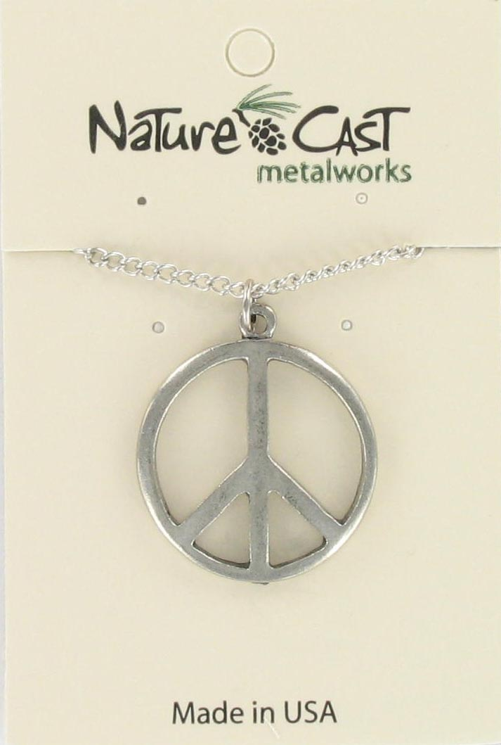 "Pendant large peace sign w/18"" chain"