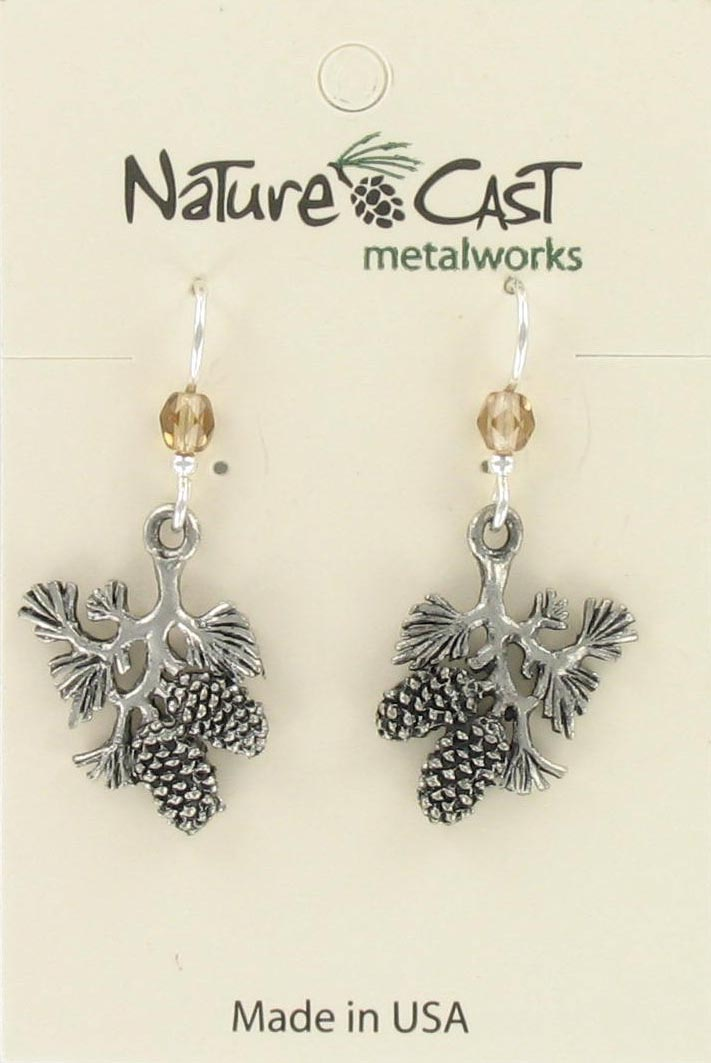 Earring dangle branch w/ pinecone THUMBNAIL