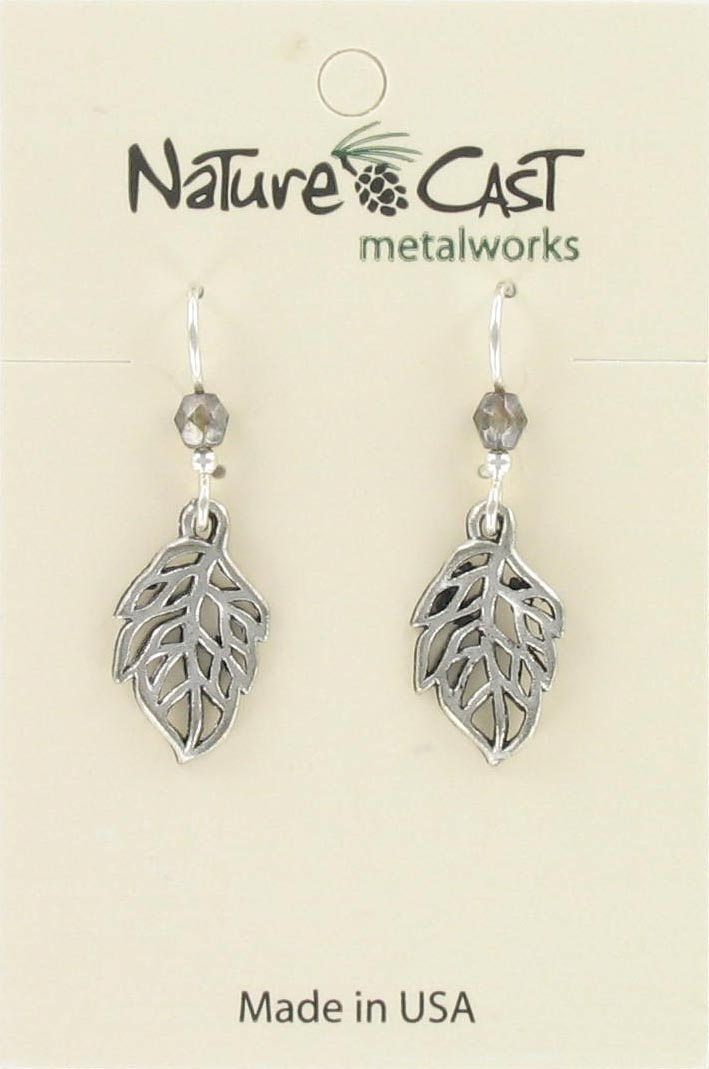 Earring dangle open leaf