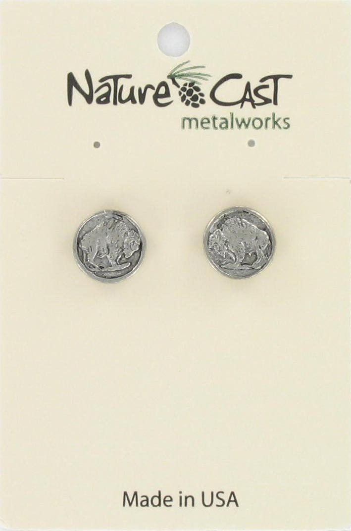 Earring post buffalo head coin