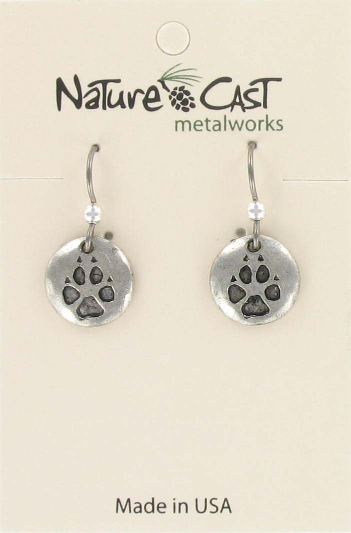 Earring wolf paw print