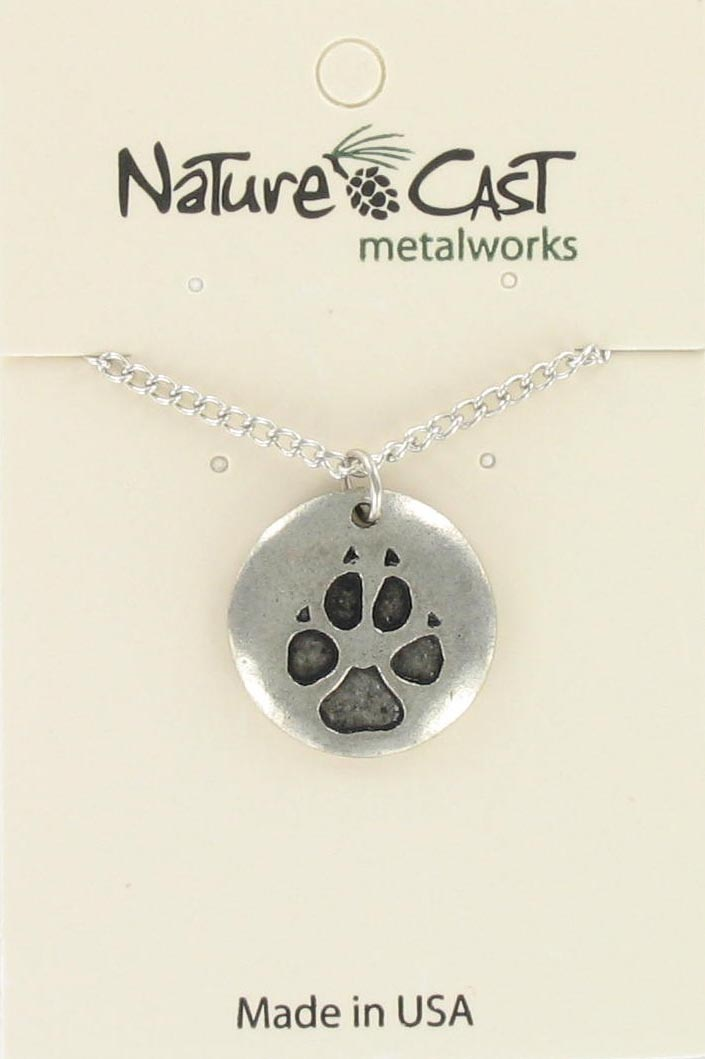 "Pendant wolf paw print w/18""  chain"
