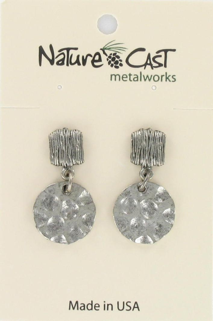 Earring post dangle vertical wrap top/w hammered disc_THUMBNAIL