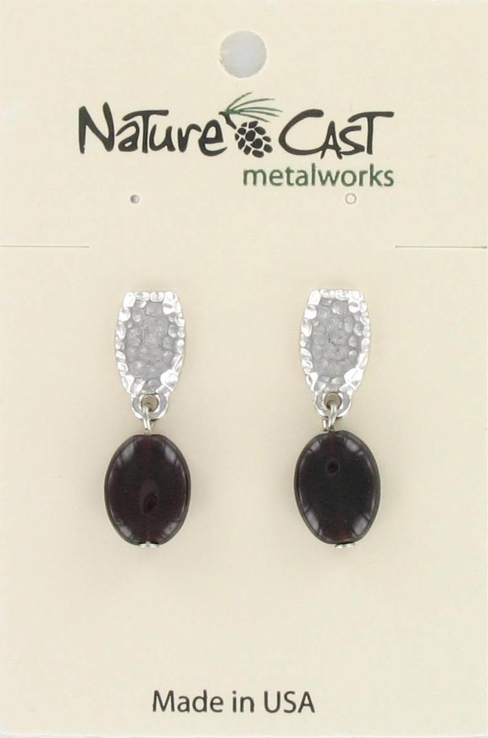 Earring post dangle hammered top w/garnet dangle_THUMBNAIL