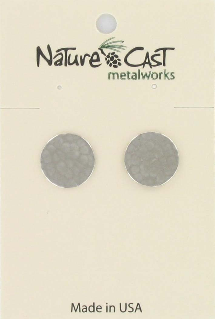 Earring post hammered circle