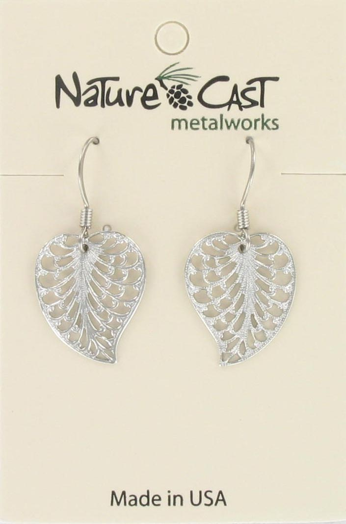 Earring dangle filigree leaf