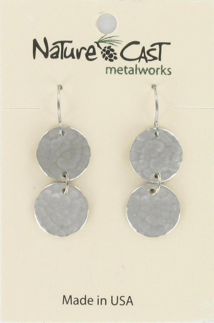 Earring dangle 2 hammered disc