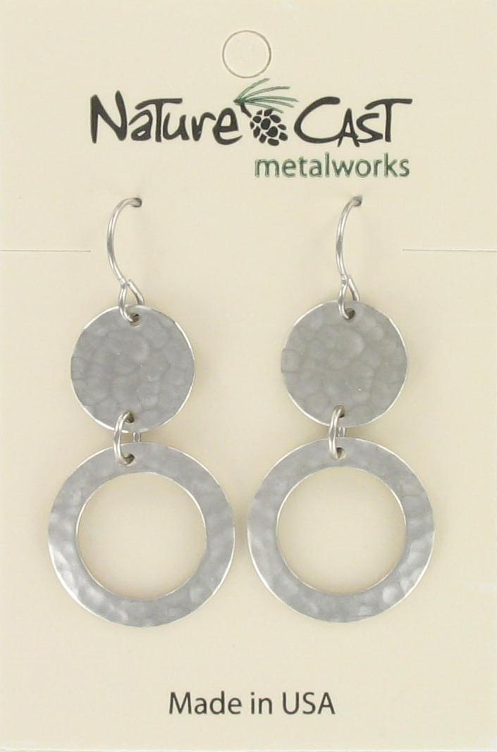 Earring dangle hammered disc and open circle