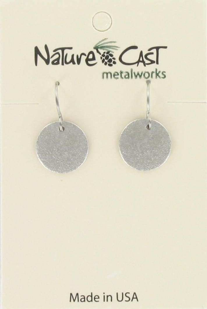 Earring dangle 12mm textured disc THUMBNAIL